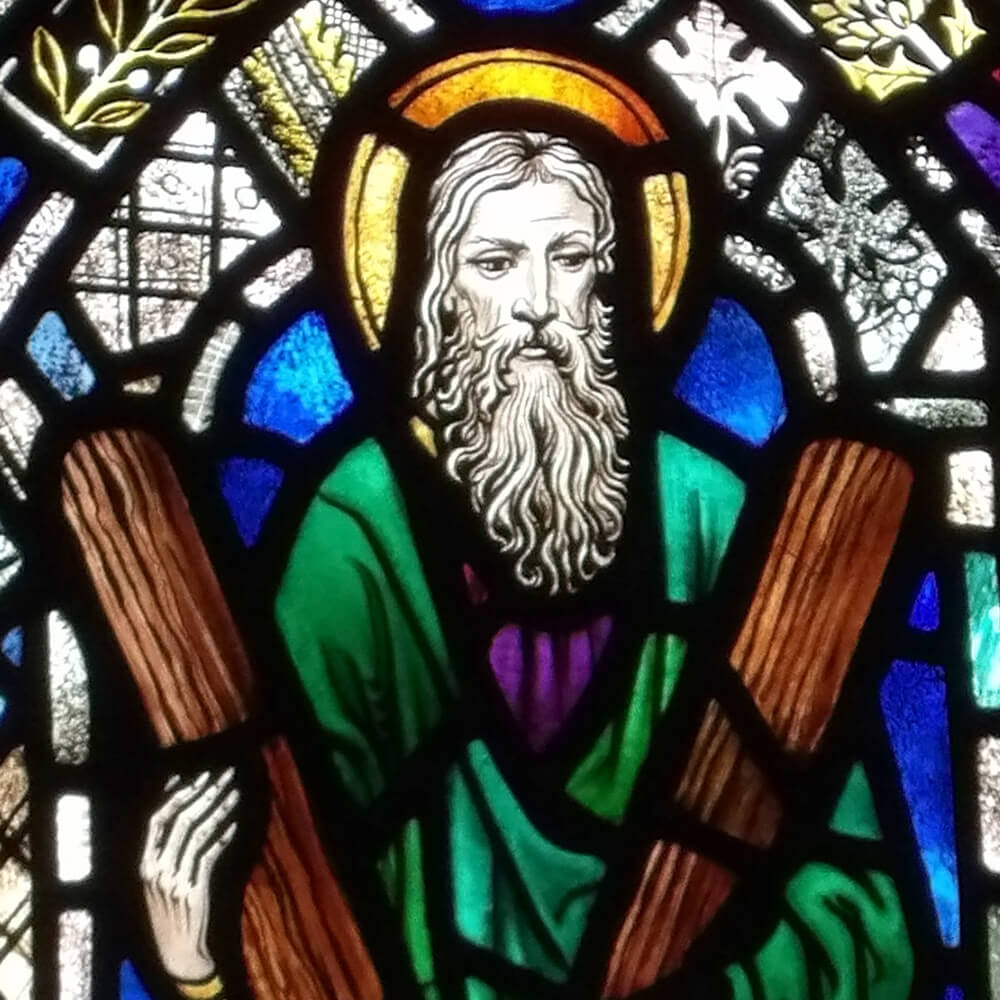 Stained Glass rendering of Saint Andrew