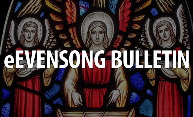 Stained glass angels playing musical instruments with text overlay 'Evensong Bulletin'